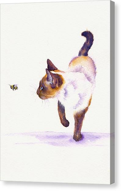 Cat Canvas Print - Bee Free by Debra Hall