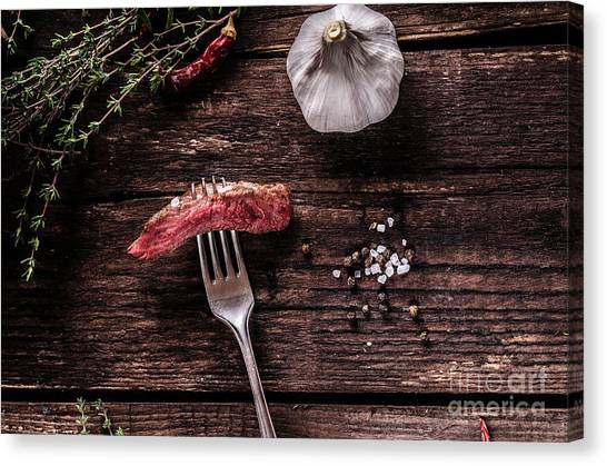 Ribeye Canvas Print - Beef Steak With Homemade French Fries, Beer And Tartar Sauce by Petr Stepanek