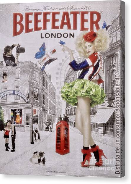 Street Signs Canvas Print - Beefeater Gin by Mary Machare