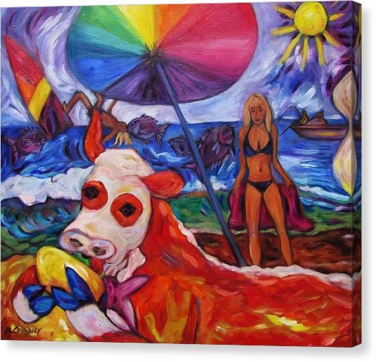 Beefy Eats Burga At The Beach Canvas Print