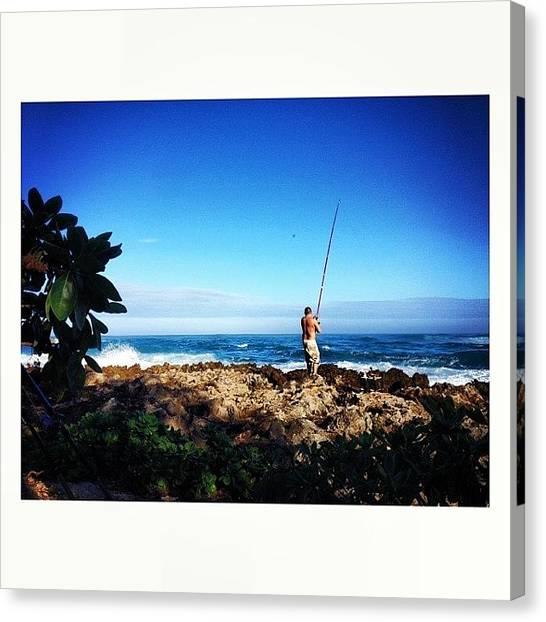 Fishing Poles Canvas Print - My Fisherman   by Melanie Papalii