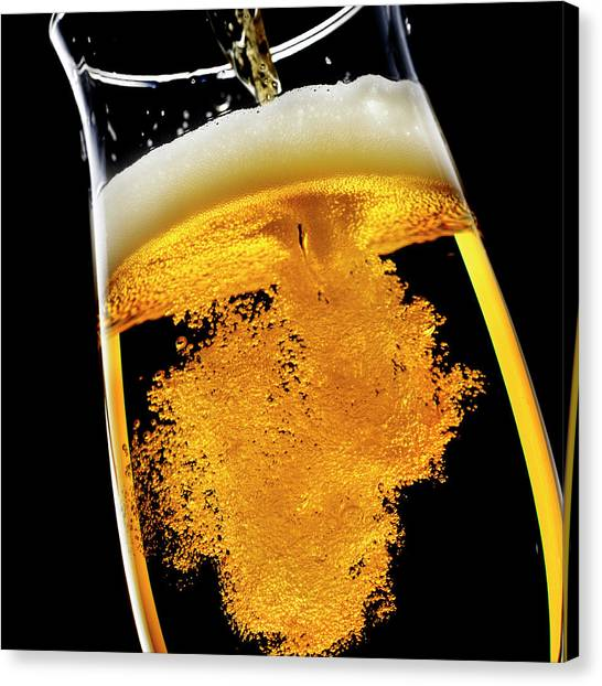 Pint Glass Canvas Print - Beer Been Poured Into Glass, Studio Shot by Ultra.f