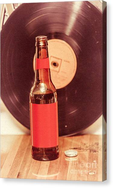 Jukebox Canvas Print - Beer Bottle On Bar Counter Top With Vinyl Record by Jorgo Photography - Wall Art Gallery