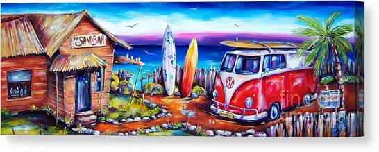 Surfing Canvas Print - Beer O'clock by Deb Broughton
