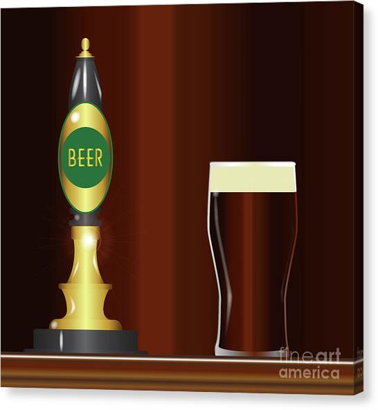 Pint Glass Canvas Print - Beer On The Bar by Bigalbaloo Stock