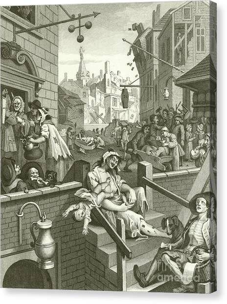 Gin Canvas Print - Beer Street And Gin Lane  by William Hogarth