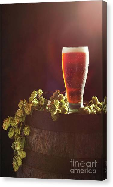 Pint Glass Canvas Print - Beer With Hops by Amanda Elwell