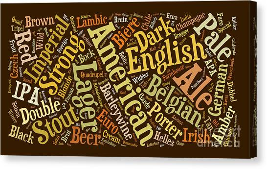 Craft Beer Canvas Print - Beer Word Cloud by Edward Fielding