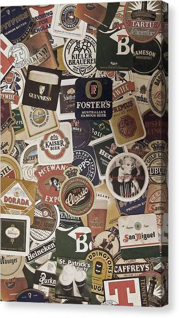 Pub Canvas Print - Beers Of The World by Nicklas Gustafsson
