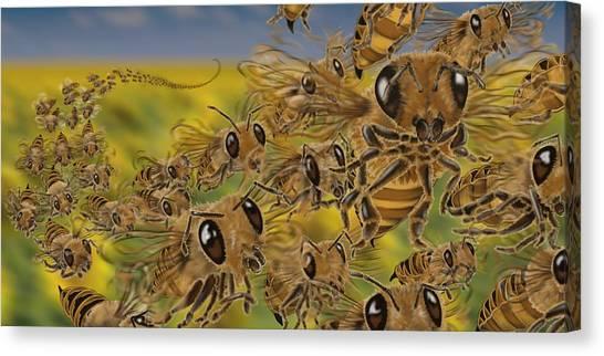 Bees Canvas Print by Tom Wrenn