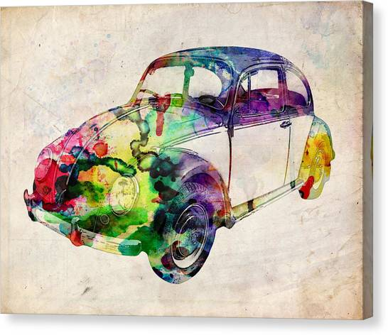 Psychedelic Canvas Print - Beetle Urban Art by Michael Tompsett