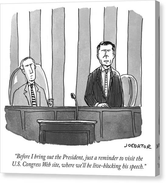 Joe Biden Canvas Print - Before I Bring Out The President by Joe Dator