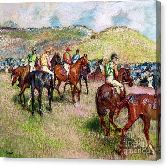 Horseracing Canvas Print - Before The Race by Edgar Degas