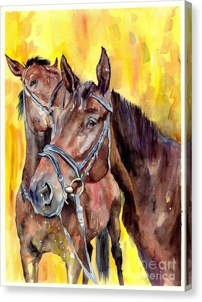 Race Horses Canvas Print - Before The Race by Suzann's Art