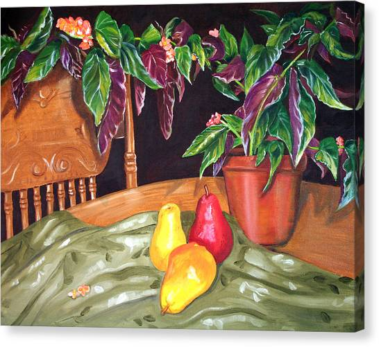 Begonias And Pears Canvas Print by Dorothy Riley