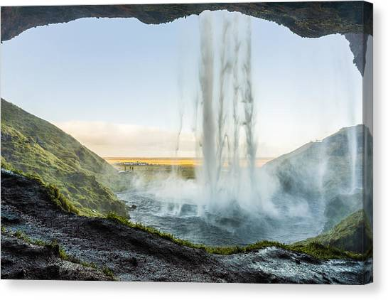 Canvas Print featuring the photograph Behind Seljalandsfoss by James Billings