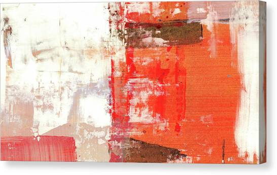 Behind The Corner - Warm Linear Abstract Painting Canvas Print