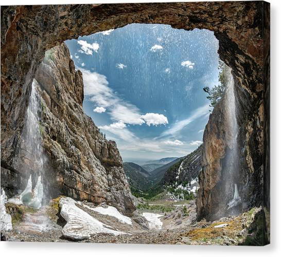 Canvas Print featuring the photograph Behind The Falls by Leland D Howard