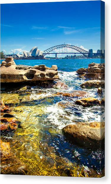 Sydney Harbour Canvas Print - Behind The Rocks by Az Jackson