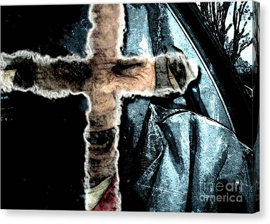 Canvas Print featuring the mixed media Behind The Thin Veil Of The Cross by Reed Novotny