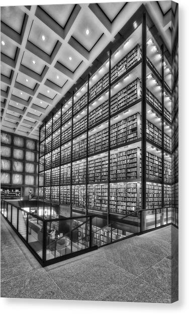Yale University Canvas Print - Beinecke Rare Book And Manuscript Library Bw by Susan Candelario