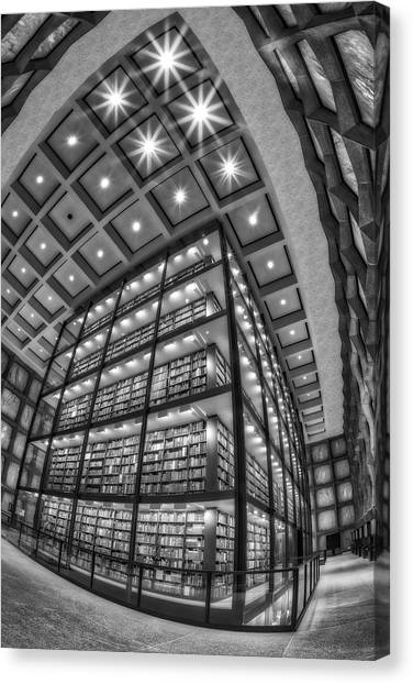 Yale University Canvas Print - Beinecke Rare Book And Manuscript Library II Bw by Susan Candelario