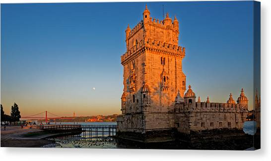 Belem Tower And The Moon Canvas Print