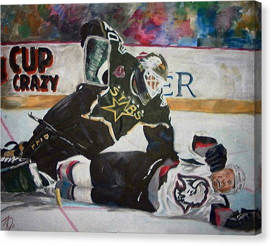 Dallas Stars Canvas Print - Belfour by Travis Day