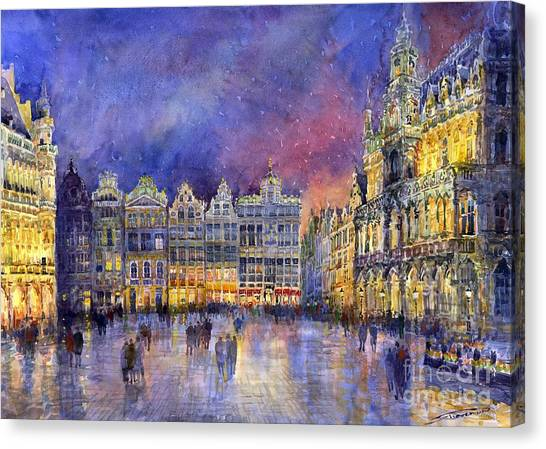 Europe Canvas Print - Belgium Brussel Grand Place Grote Markt by Yuriy Shevchuk