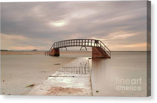 Belhaven Stairs And The Bass At Low Tide Canvas Print