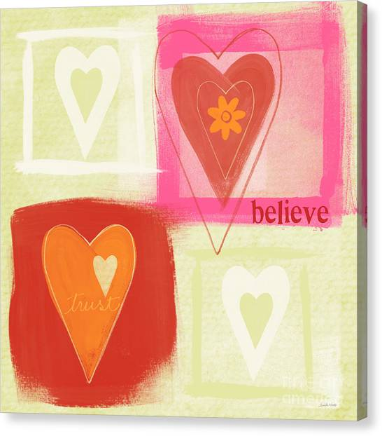 Heart Canvas Print - Believe In Love by Linda Woods