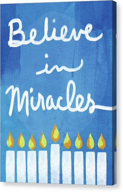 Jewish Art Canvas Print - Believe In Miracles- Hanukkah Art By Linda Woods by Linda Woods