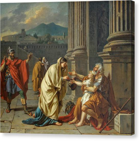 Neoclassical Art Canvas Print - Belisarius, General Of The Roman Emperor Justinian, Reduced To Begging by Jacques-Louis David