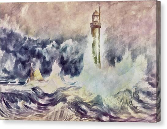 Design Canvas Print - Bell Rock Lighthouse After Turner by Georgiana Romanovna
