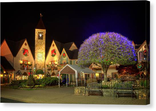 Bell Tower Square Christmas Canvas Print