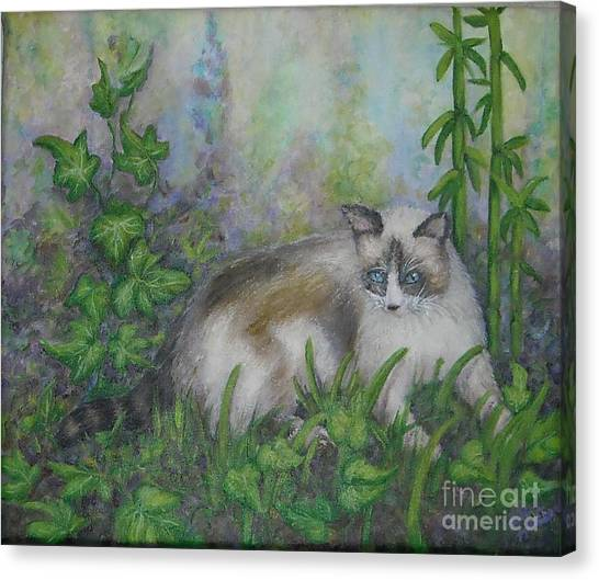 Bella With Ivy And Bamboo Canvas Print by Sheri Hubbard