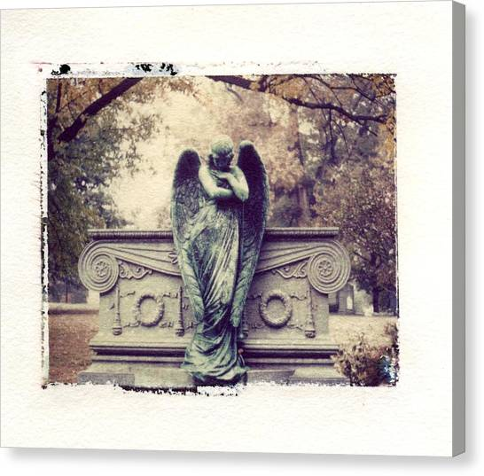 Angel Falls Canvas Print - Bellefontaine Angel Polaroid Transfer by Jane Linders