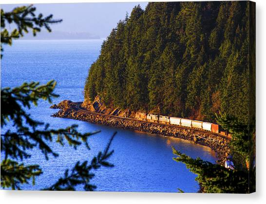 Bellingham Bay And Train Canvas Print