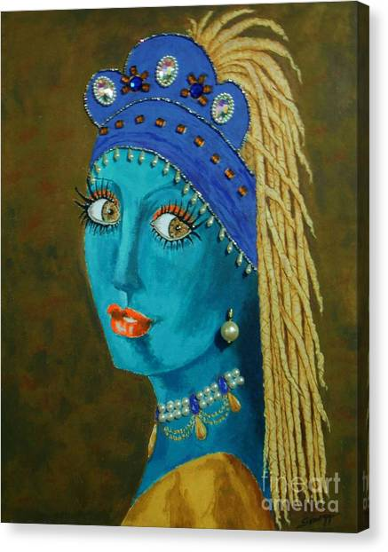 Belly Dancer With A Pearl Earring -- The Original -- Whimsical Redo Of Vermeer Painting Canvas Print