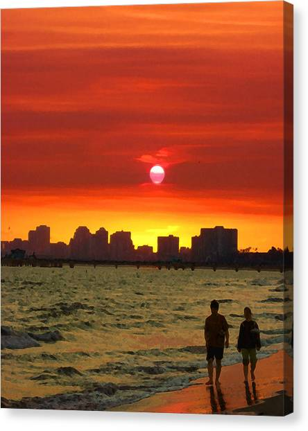 Belmont Shore Sunset Canvas Print