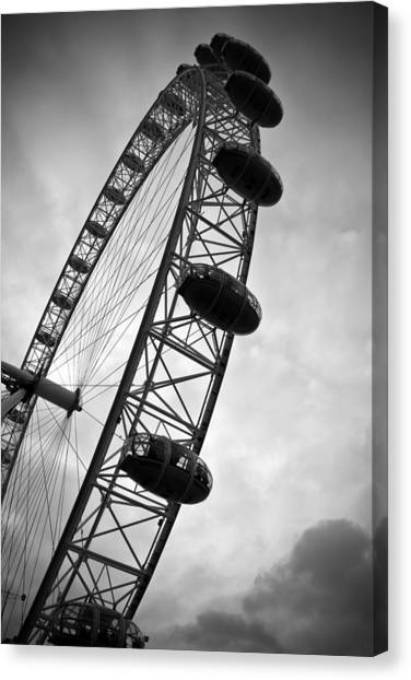 United Kingdom Canvas Print - Below London's Eye Bw by Kamil Swiatek