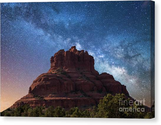 Below The Milky Way At Bell Rock Canvas Print