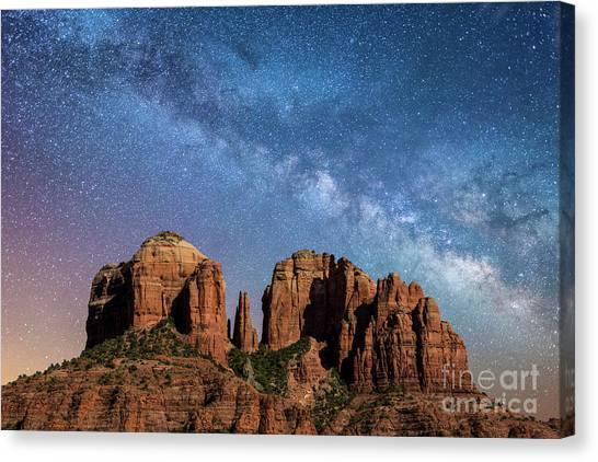 Below The Milky Way At Cathedral Rock Canvas Print