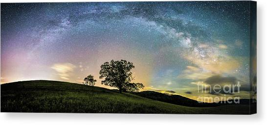 Below The Milky Way At The Blue Ridge Mountains Canvas Print