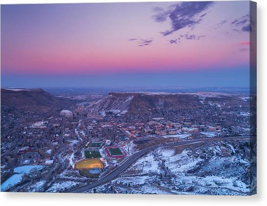 Venus Canvas Print - Belt Of Venus Over Golden Colorado by Darren  White
