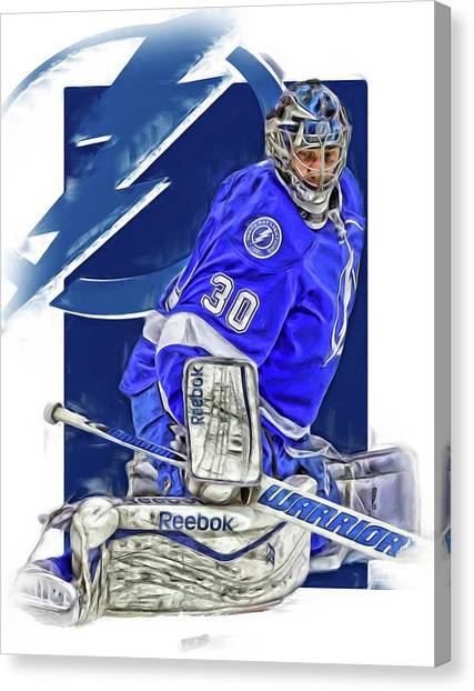 Tampa Bay Lightning Canvas Print - Ben Bishop Tampa Bay Lightning Oil Art by Joe Hamilton