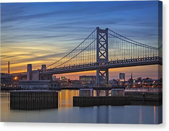 Philadelphia Skyline Canvas Print - Ben Franklin Bridge by Susan Candelario