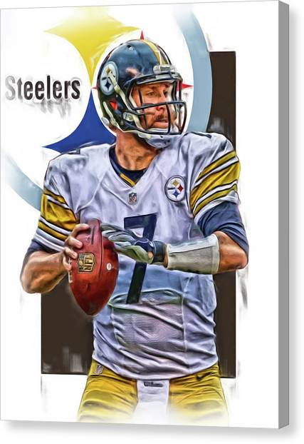 Ben Roethlisberger Canvas Print - Ben Roethlisberger Pittsburgh Steelers Oil Art by Joe Hamilton