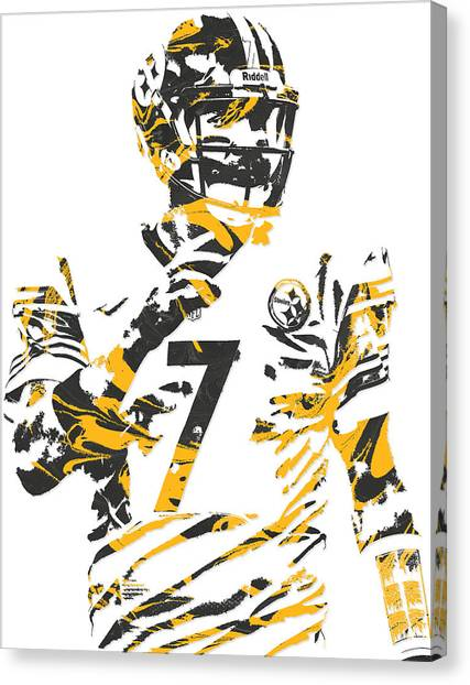 Ben Roethlisberger Canvas Print - Ben Roethlisberger Pittsburgh Steelers Pixel Art 4 by Joe Hamilton