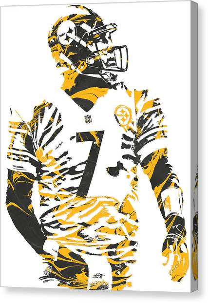 Ben Roethlisberger Canvas Print - Ben Roethlisberger Pittsburgh Steelers Pixel Art 6 by Joe Hamilton